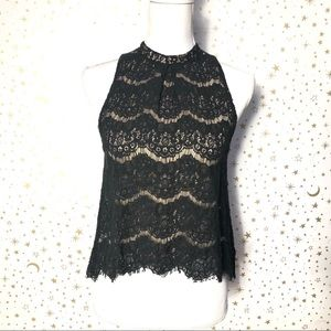 🌟2/$20 Love Fire Black Lace Halter Blouse